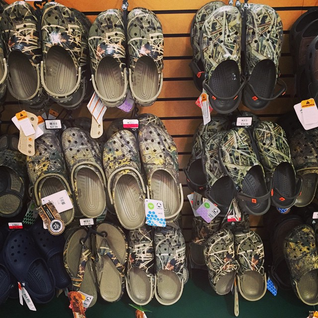 Cammo Crocs where your dignity goes to die