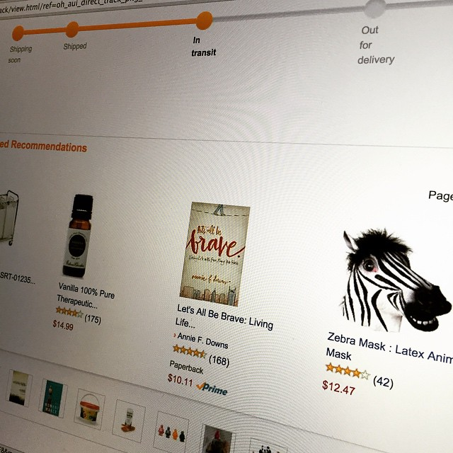 Why yes Amazon how'd you know that I wanted @anniefdowns Let's all be Brave and a Zebra mask. #nailedit